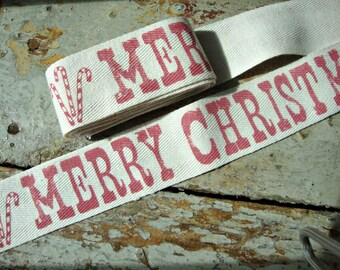 Rustic Merry Christmas Cotton Twill Ribbon with Candy Canes