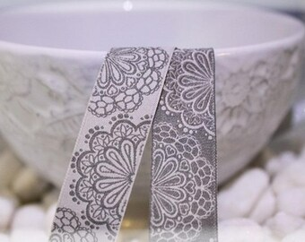 Floral grey farbenmix Ribbon 17 mm by the yard