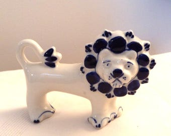 Whimsical Soviet Union Blue White Lion/USSR Pottery/Vtg Porcelain LION Figurine/Russian Lion Figurine/GZHEL Pottery/Russian Folklore