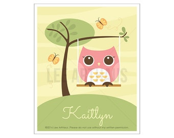 120P Owl Print - Personalized Pink Owl in Swing Wall Art - Custom Baby Girl Nursery Art - Personalized Baby Girl Art - Custom Name Wall Art
