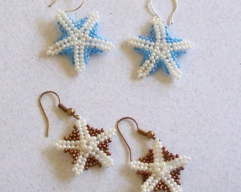 FREE SHIPPING - Blue and White or Bronze and White Beaded Starfish Earrings by Carol Wilson of Je t'adorn