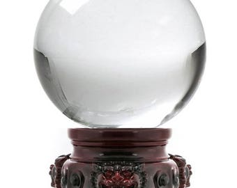 "Feng Shui Natural Clear Quartz Crystal Ball 3"", 80mm Crafting Crystal Ball For Attracting Positive Energy Or Tapping Into Higher Inner Power"