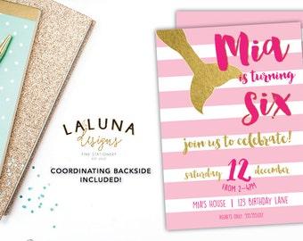 Mermaid Birthday Invitation, Mermaid Invitation, Mermaid Birthday Invite, Mermaid Party, Girl Birthday Invite, Gold Foil Invitation