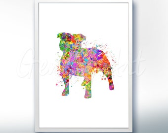 Staffordshire Bull Terrier Watercolor Art Print - Staffordshire Bull Terrier Watercolor Art Painting - House Warming Gift