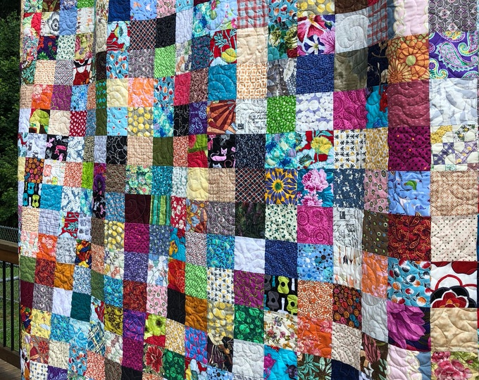 Queen Patchwork Quilt, Queensize Cotton Quilt, Patchwork Bedding, Scrappy Quilt, Country style Cotton Quilt