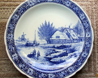 Blue and White Delft Porcelain Charger Plate by Boch