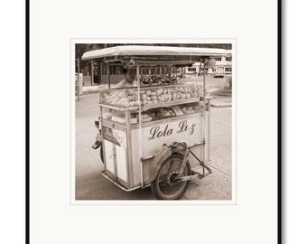 Black and white photography, sepia prints, Philippines, Danao City, pastry cart, street vendor bakery, baked goods, Asian market vendor