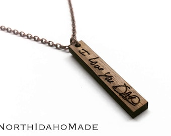 Handwritten Engraved Vertical Wood Bar Necklace - Handwriting Wooden Bar Drop Necklace - Memorial Jewelry - Mothers Day Gift