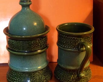 Royal Sealy Japan Apothecary Jar with Lid & Matching cup Ewer Avacado Green with greenish tourquoise speckled coloring BEAUTIFUL