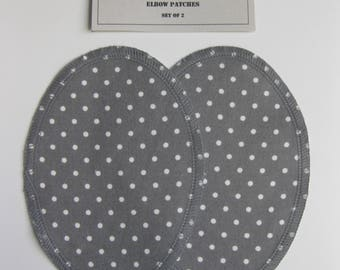 Elbow Patches - Gray and White Polka Dot - Set of 2