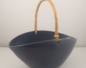 Navy Gray Oval Bowl with Bamboo Handle