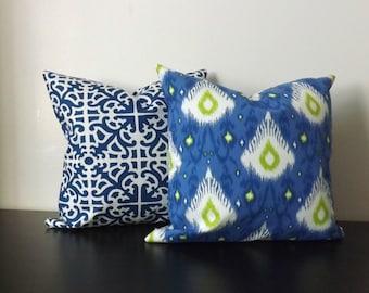 Decorative Throw Pillow Covers,Set of Two 16x16,18x18,  Blue Green White Pillow Covers,Accent Pillow, Pillow Shams,Toss Pillows,Sofa Pillows