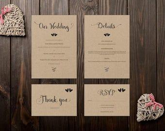 Rustic Printable Wedding Invitation Set