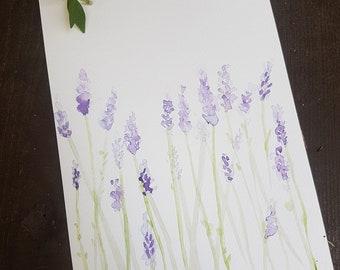Personalized Inscription, Watercolor Lavender, Watercolor A5 Picture, Watercolor Flowers