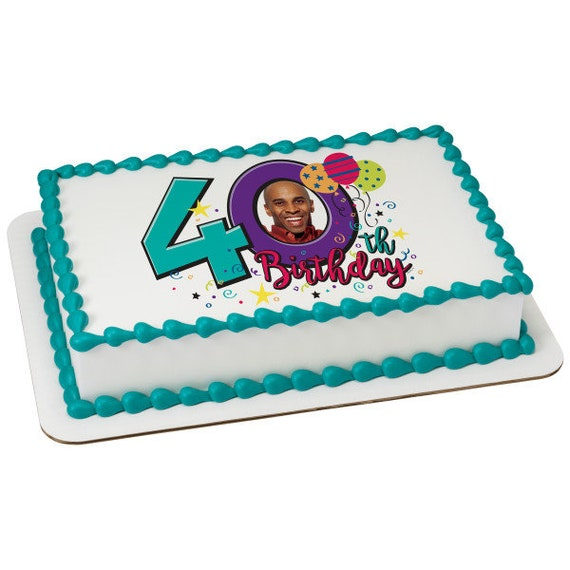 Happy 40th Birthday - Edible Cake and Cupcake Photo Frame For Birthdays and Parties! - D24113