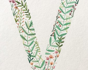 Alphebet watercolor letters