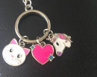 Girls Unicorn Necklace,Party Favors, Girls Kitty Heart Unicorn Necklace,Cute Kids Charm Necklace