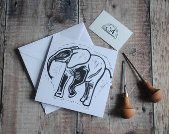 Elephant Greeting Card & Envelope   Hand Printed Original Lino Print