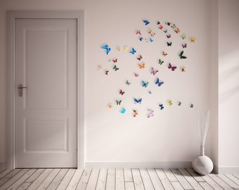 3D Realistic Wall Butterflies- set of 50 various sizes and colors