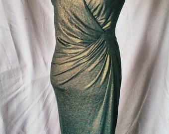 Gold Dress with Drape and Thigh Split