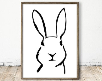 scandinavian bunny print, white bunny art, white rabbit art, square print, black and white nursery, nursery wall art, nursery art, rabit art