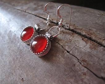 Carnelian earrings,Carnelian silver Earrings,Silver  earrings, Filigree earrings,Israel jewelry,small silver earrings,everyday earrings