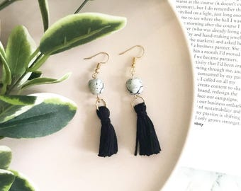 NEVARA tassel earrings | marble polymer clay earrings with black tassel | dangles | drop earrings | statement