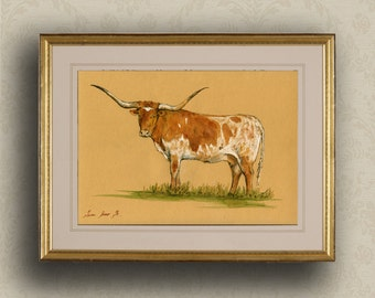 PRINT-Cow Pineywoods cattle bull  Cow painting print, farm nursery -Art Print by Juan Bosco
