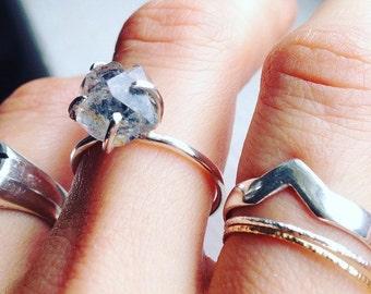 Herkimer diamond set in sterling silver