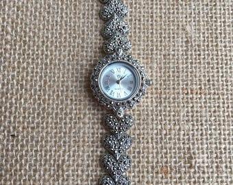 Vintage sterling silver marcasite wrist watch
