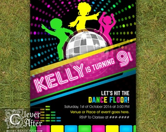 Disco Backdrop 70s Retro Dance Party poster Neon glow