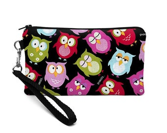 iPhone 8 Plus Purse, Women's Phone Wallet with Removable Strap, Galaxy S8 Purse, Smartphone Wristlet - pink green owls in black