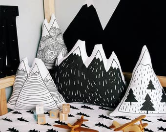 Mountain Pillows - Set of 4, Mountain Scandinavian Nursery. Cuddle Toy, Scandinavian decor, nursery cushions, baby accessories