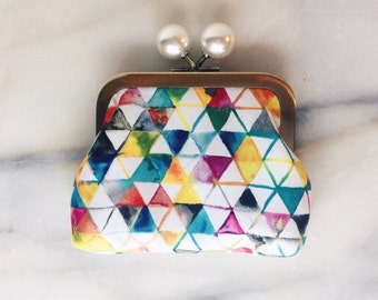 Coin Purse - Coin Purse With Knobs - Handmade - Watercolor Pattern