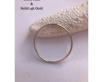 Gold Ring, SOLID 14k Ultra Thin Band, Wedding Ring, Delicate Ring, Simple Ring Spacer Stackable Ring Mothers Day Plain Band, Easter