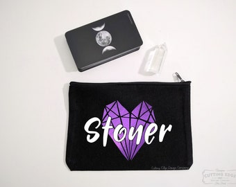Stoner Crystals Black Zipper Bag | Tarot Bag | Stoner Girl | Crystal Pouch | Stoner Gift | Crystal Gift | Crystal Lover Gift | Gem Stones