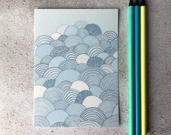 Clouds Print / Blue Clouds / A6 print / Mini art print / Graphic art / Contemporary art / Postcard / Baby blue / Nursery art