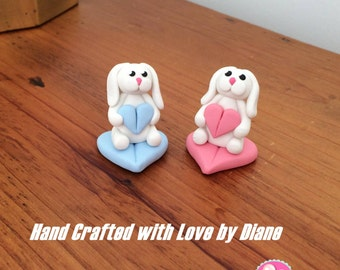 2 Polymer Clay Miniature Mini White Lop Eared Bunny Rabbits with Hearts