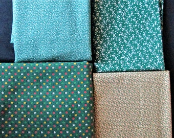Vintage Lot of 4 Shades of Green Cotton Fabrics Quilting Doll making 5.4 yds