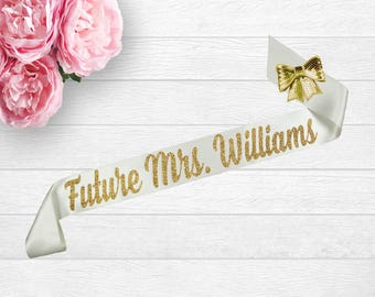 Bridal Shower Sash, Future Mrs Sash, Bride To Be Sash, Bachelorette Sash, Satin Bride Sash, Personalized Sash, Bride Gift, Bridal Shower