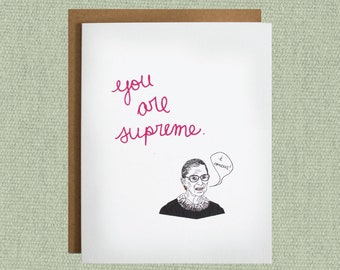 Law School Graduation Gift, lawyer gifts, Graduation Cards, Ruth Bader Ginsburg RBG Supreme, Funny Birthday Cards, Thank You Cards, feminist