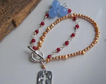 50% OFF Beaded Bracelet, Double Strand Bracelet, Garnet Glass, Blue Quartz Briolettes, Cross Bracelet, Freshwater Pearl Bracelet, Etsy