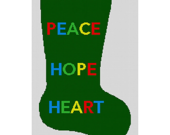 Personalized Needlepoint Christmas Stocking Canvas - Peace, Hope, Heart