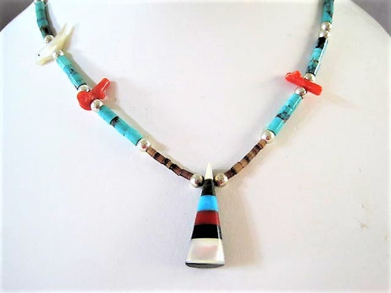 Fetish Bird Necklace, Vintage Heishi Beads, Triangle Inlaid Pendant,  Southwestern 20 inch Necklace, Native American