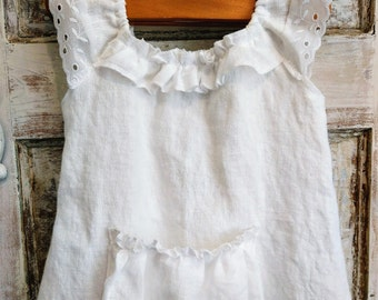 Linen Flower Girl Dress | Washed Linen Flower Girl Dress | Boho Flower Girl Dress | Spring Flower Girl Dress | Ellie Ann and Lucy