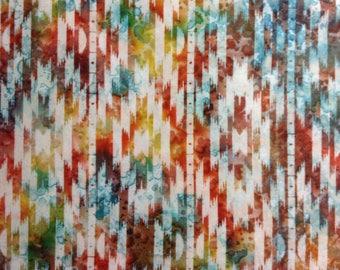 One Half Yard of Fabric Material, Bright Aztec Indian Batik