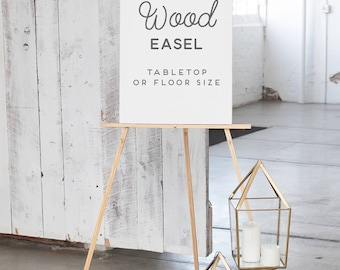 Wedding Easel - Natural Wood Easel - Easel for Sign  - Table Top Easel or Floor Display Easel - Wood Easel for Wedding Canvas