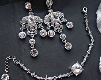 Bridal jewelry set wedding chandelier earrings wedding cuff bracelet bridal earrings bridal bracelet rhinestone jewelry bracelet earring set