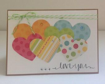 Handmade Card, I Love You, Happy Anniversary, Birthday, Marriage, Happiness, Hearts