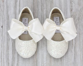 Infant, Toddler and Girls Shoes - OFF WHITE rock glitter mary-jane with IVORY satin ribbon bow - For Flower Girls, Christening and Baptism